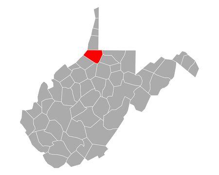 Map of Wetzel in West Virginia