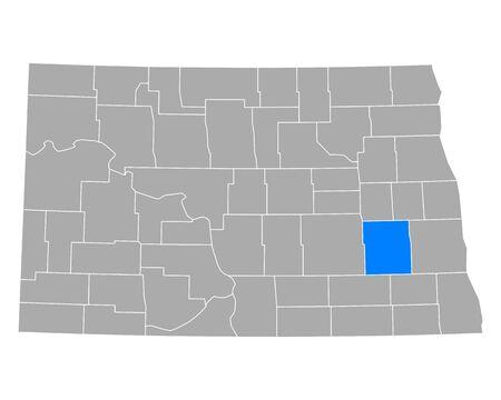 Map of Barnes in North Dakota