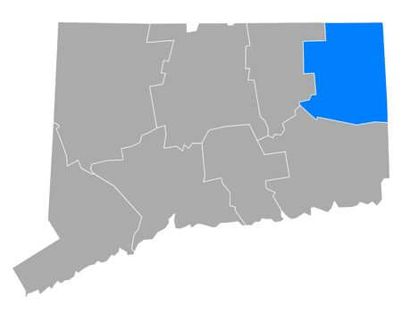 Map of Windham in Connecticut