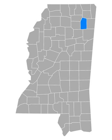 Map of Lee in Mississippi
