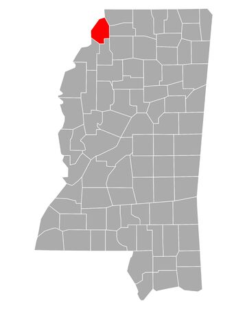 Map of Tunica in Mississippi