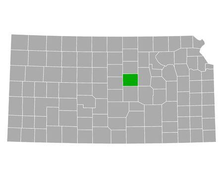 Map of Saline in Kansas Illustration
