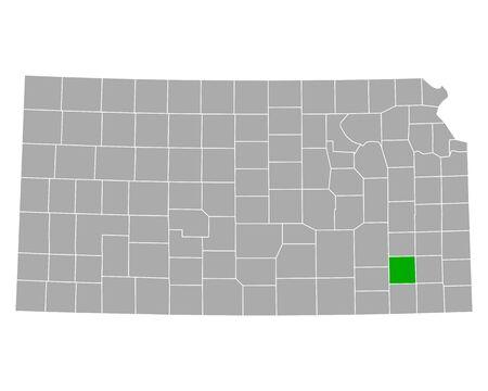 Map of Wilson in Kansas