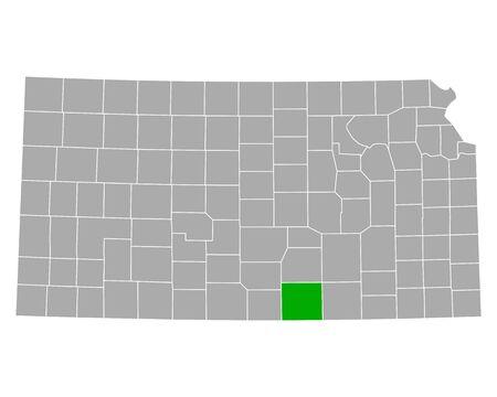 Map of Sumner in Kansas