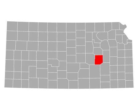 Map of Chase in Kansas Illustration