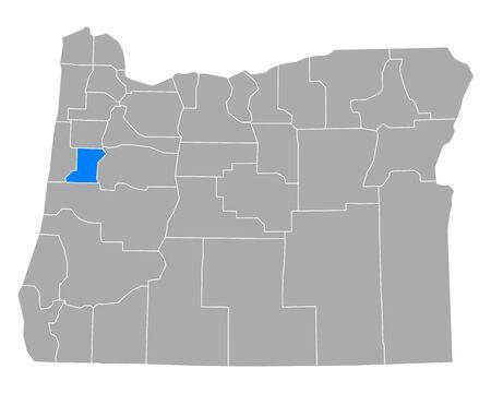 Map of Benton in Oregon