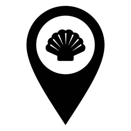 Shell and location pin illustration 向量圖像