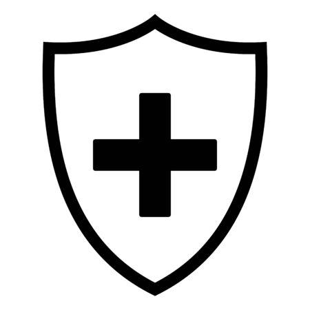 Plus and shield Vektorgrafik