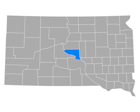 Map of Hughes in South Dakota