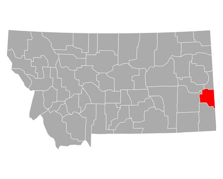 Map of Fallon in Montana 向量圖像