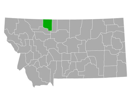 Map of Toole in Montana 向量圖像