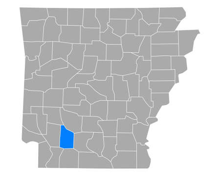 Map of Nevada in Arkansas