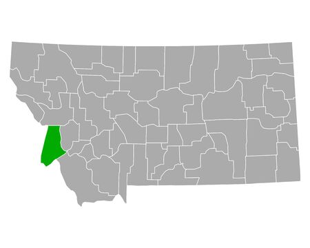 Map of Ravalli in Montana 向量圖像