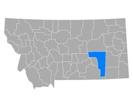 Map of Rosebud in Montana Illustration