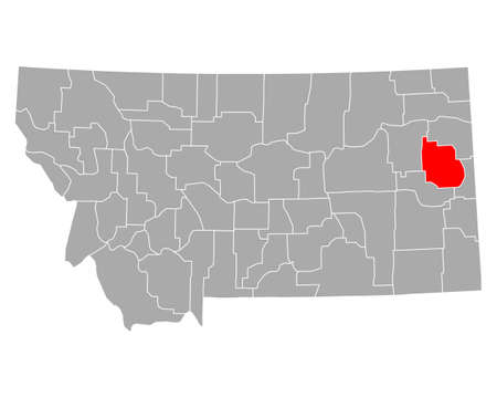 Map of Dawson in Montana 向量圖像