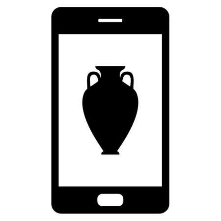 Amphora and smartphone illustration.