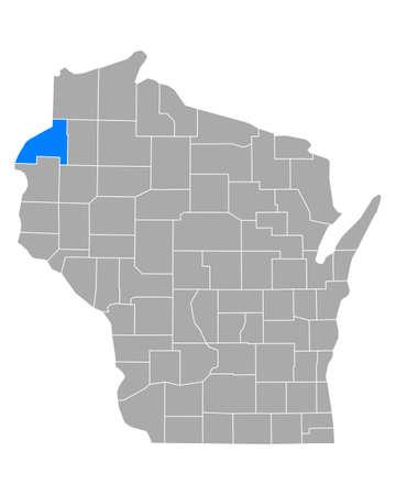 Map of Burnett in Wisconsin