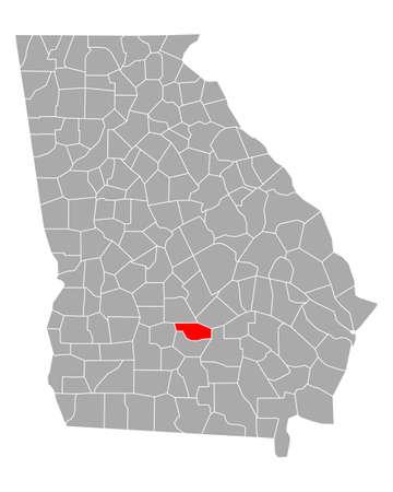 Map of Ben Hill in Georgia