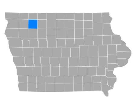 Map of Clay in Iowa Illusztráció
