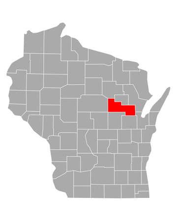 Map of Shawano in Wisconsin