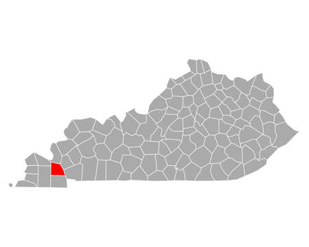 Map of Marshall in Kentucky  イラスト・ベクター素材