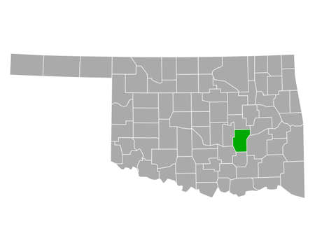 Map of Hughes in Oklahoma