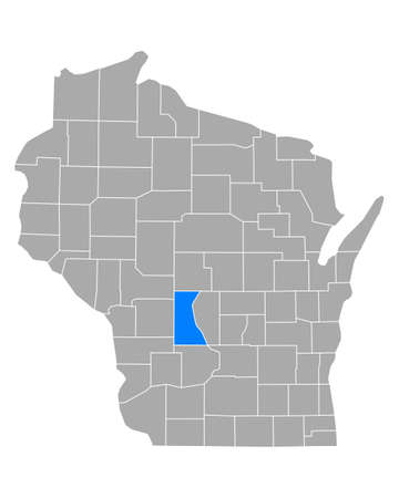 Map of Juneau in Wisconsin