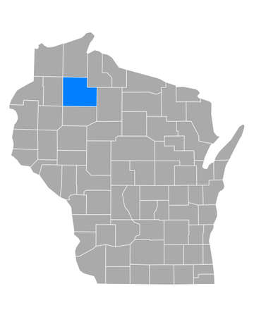 Map of Sawyer in Wisconsin 矢量图像