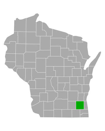 Map of Waukesha in Wisconsin