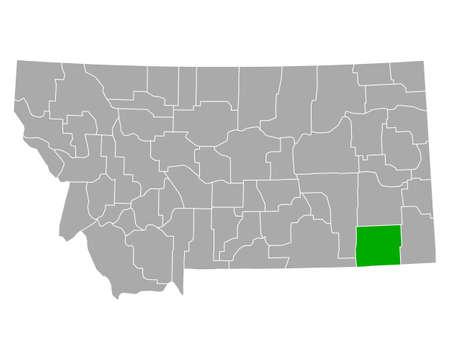 Map of Powder River in Montana