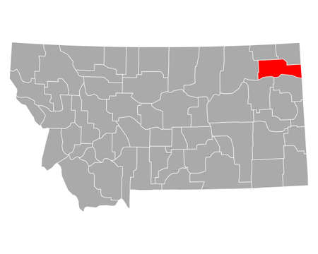 Map of Roosevelt in Montana 向量圖像