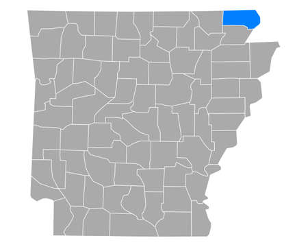 Map of Clay in Arkansas
