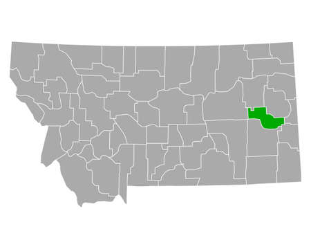 Map of Prairie in Montana 向量圖像