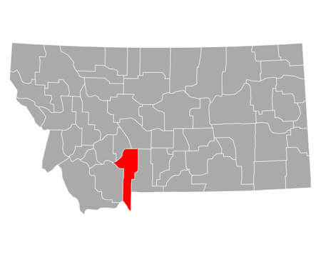 Map of Gallatin in Montana 向量圖像
