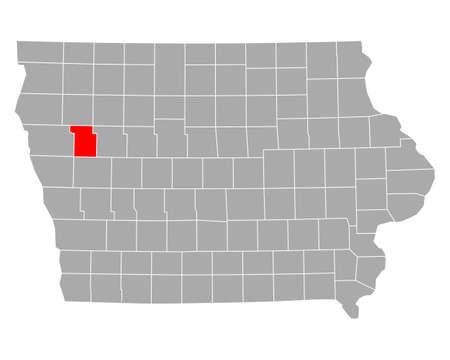 Map of Ida in Iowa Ilustração