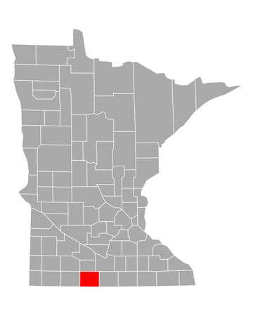Map of Martin in Minnesota Illustration