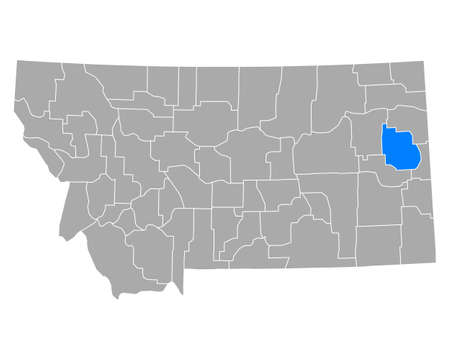 Map of Dawson in Montana