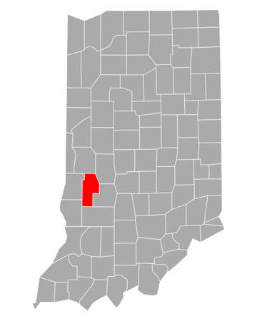 Map of Clay in Indiana
