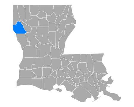 Map of De Soto in Louisiana