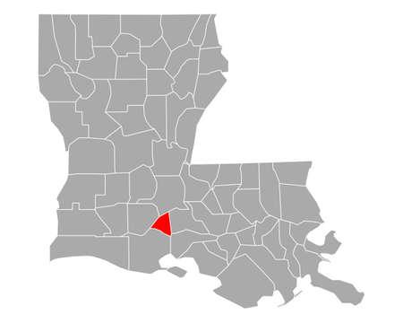 Map of Lafayette in Louisiana