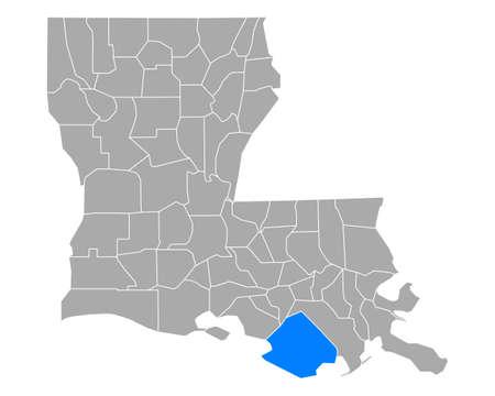 Map of Terrebonne in Louisiana