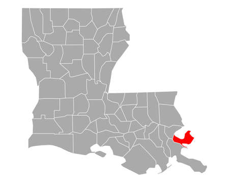 Map of St Bernard in Louisiana Vettoriali