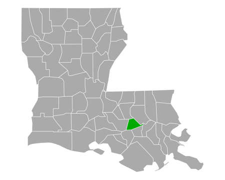 Map of Ascension in Louisiana
