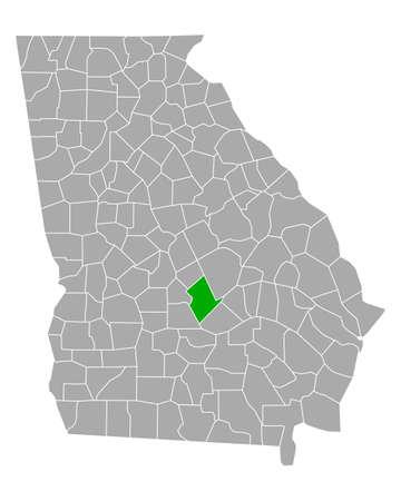 Map of Dodge in Georgia