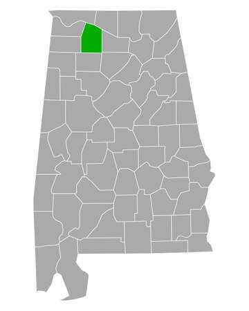 Map of Lawrence in Alabama