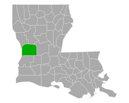 Map of Vernon in Louisiana
