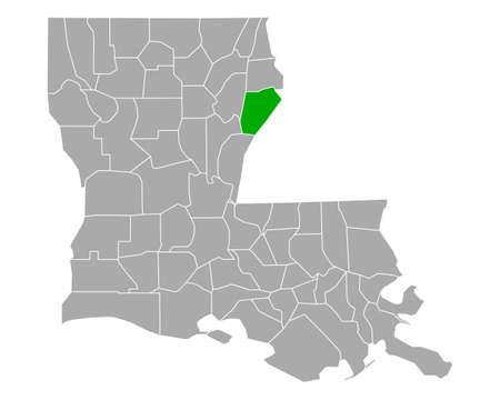 Map of Tensas in Louisiana