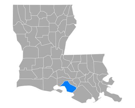 Map of St Mary in Louisiana Vettoriali