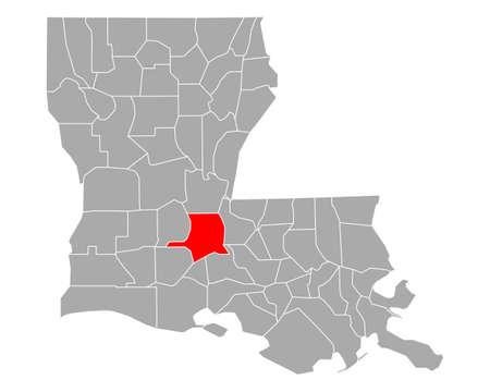 Map of St Landry in Louisiana
