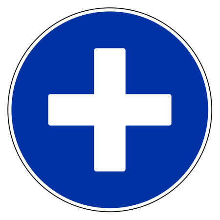 Plus and blue sign